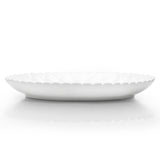 "12-1/4""D Round Flower Plate, White Ceramic"