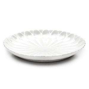 "14"" Flower Round Plate, White Ceramic"