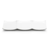 "3-Compartment Square Plate 11""x3-1/2"", White Ceramic"