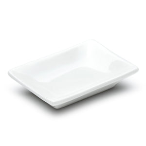 "3-3/4""x2-1/2"" Rectangular Plate, White Ceramic"