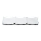 "3-Compartment Plate 14-7/8""X4-7/8"", White Ceramic"