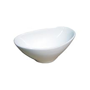 "4-1/4x2-1/2"" Slanted Sauce Bowl, White Ceramic"