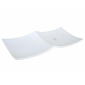 "2-Compartment Square Plate 13-1/2""x6-5/8"", White Ceramic"