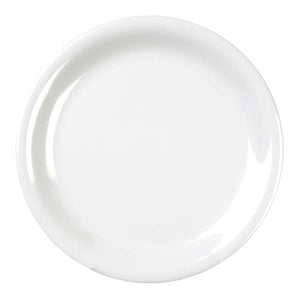 "7-1/4"" Melamine Narrow Rim Round Dinner Plate, White"