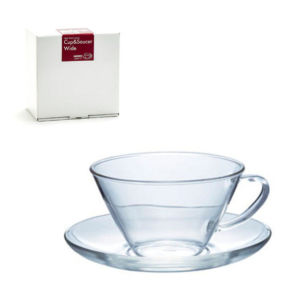 HARIO Heatproof Glass Cup & Saucer Wide
