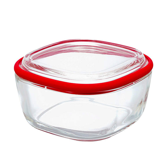 HARIO Glass Square Container S/M, Red