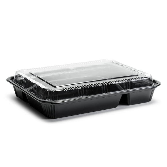 Disposable Lunch Box w/Lid (50pc) (Black) 9.25