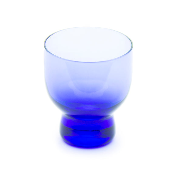 Glass Sake Cup with Blue Streak 2-1/2