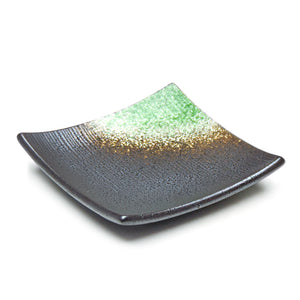 "5.25"" Square Porcelain Plate, Black/Green"