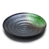 "8.75""Dx1.25""H Porcelain Plate, Black/Green"