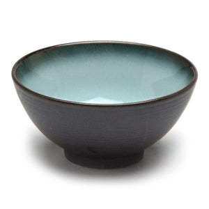 "4.5""Dx2.25"" Porcelain Rice Bowl, Reactive Glaze - Blue/Black"