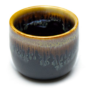 "Porcelain Sake Cup 2""Dx1.5""H - 2 Oz, Chun Tenmoku - Blue/Dark Brown"