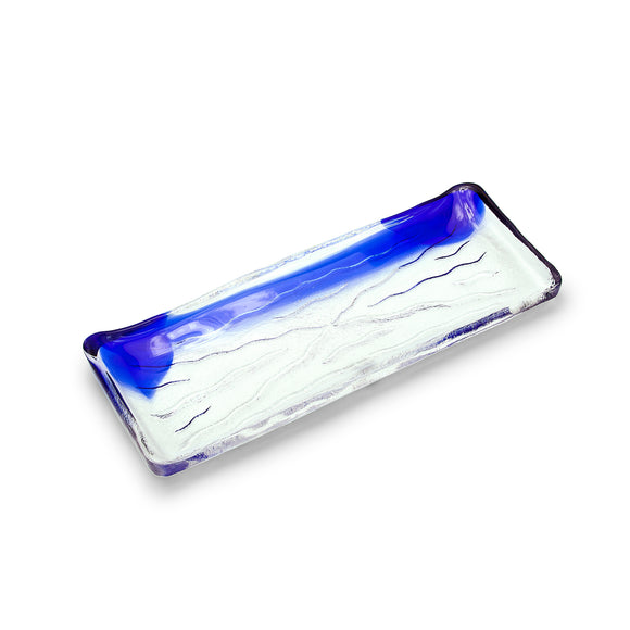 Glass Rectangular Plate with Blue Streak 10.75