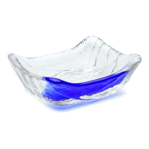 "Glass Sauce Plate with Blue Streak 3.5""x2.75"""