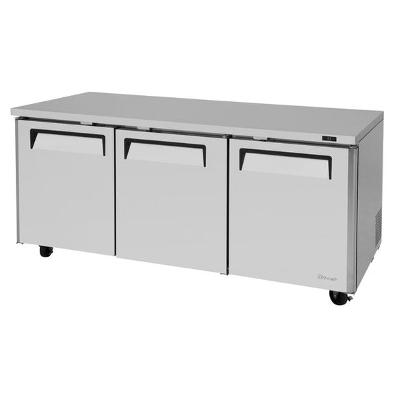 Turbo Air M3 Undercounter Refrigerator, 3 Section, 3 Door, 72