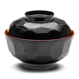 Lacquer Miso Soup Bowl With Lid, Black
