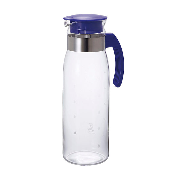 HARIO Pot Slim B Glass Pitcher 1400ml, Navy Blue