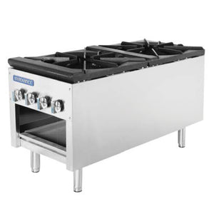 "Turbo Air Radiance Stock Pot Gas Range, 3-Ring Double Burners, 18""W"