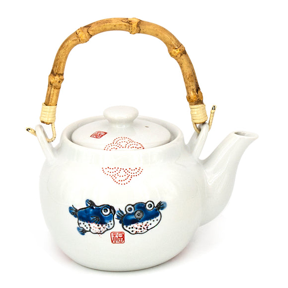 PUFFER FISH TEA POT  w/strainer 42 fl oz