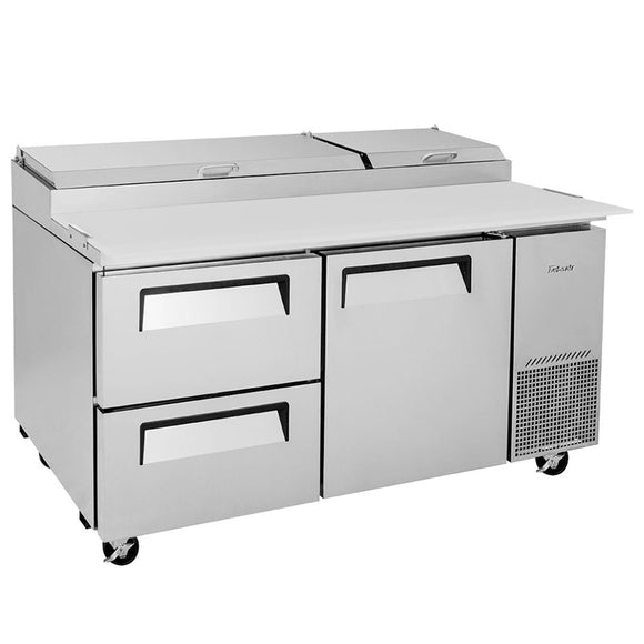 Turbo Air Super Deluxe Pizza Prep Table, 1 Door, 2 Drawer, 2 Section, 67