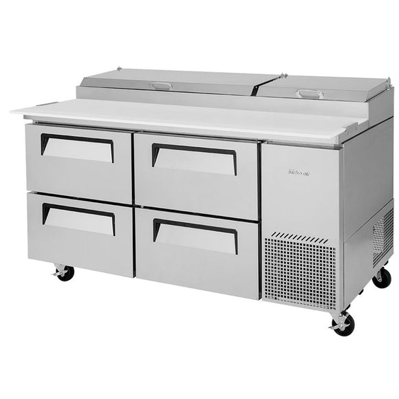 Turbo Air Super Deluxe Pizza Prep Table, 4 Drawer, 2 Section, 67