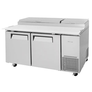 "Turbo Air Super Deluxe Pizza Prep Table, 2 Door, 2 Section, 67""W"