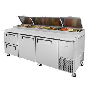 "Turbo Air Super Deluxe Pizza Prep Table, 2 Door, 2 Drawer, 3 Section, 93""W"