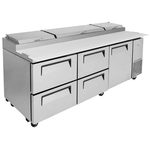 "Turbo Air Super Deluxe Pizza Prep Table, 1 Door, 4 Drawer, 3 Section, 93""W"