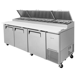 "Turbo Air Super Deluxe Pizza Prep Table, 3 Door, 3 Section, 93""W"