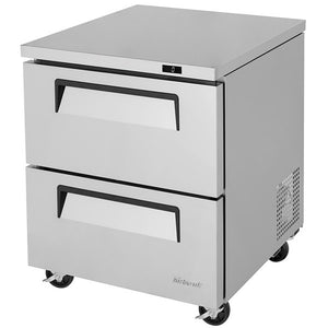 "Turbo Air Super Deluxe Undercounter Freezer, 1 Section, 2 Drawer, 27""W"