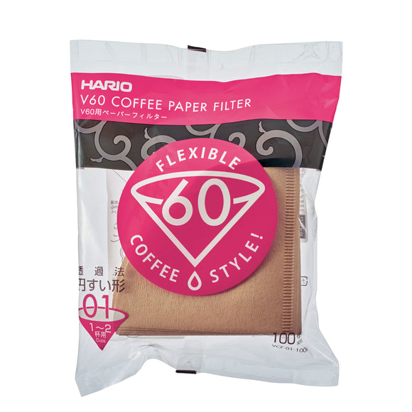 HARIO V60 Paper Coffee Filter 100 sheets 01, Natural