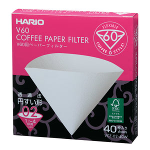 HARIO V60 Paper Coffee Filter 40 sheets 02, White