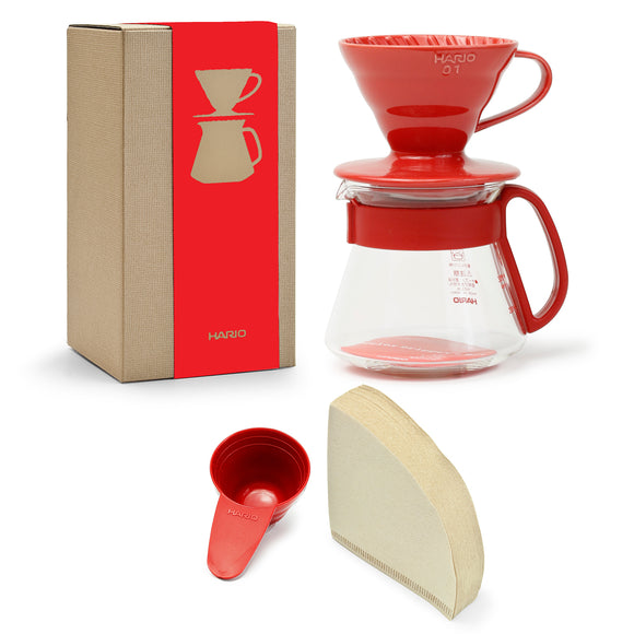 HARIO V60 Ceramic Color Dripper & Pot 01, Red