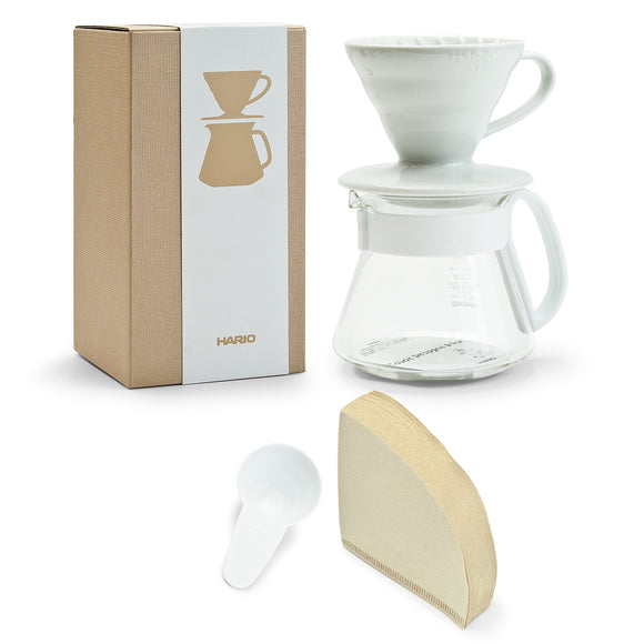 HARIO V60 Ceramic Color Dripper & Pot 01, White