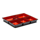 "Lacquer Lunch Box 6 Compartment 11.75"", Black/Red"