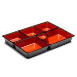 "Lacquer Lunch Box 6-Compartment 14.5"", Black/Red"