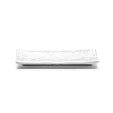 "Melamine Rectangular Ripple Plate 10-1/2"", Shiny White"