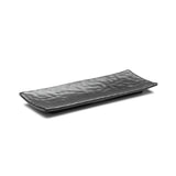 "Melamine Rectangular Ripple Plate 11-1/4"", Matte Black"