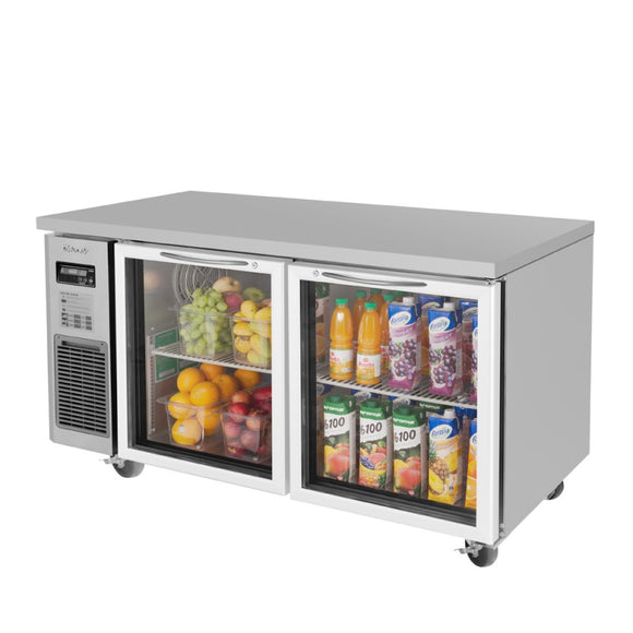 Turbo Air J Series Undercounter Refrigerator, 2 Section, 2 Glass Door, 59