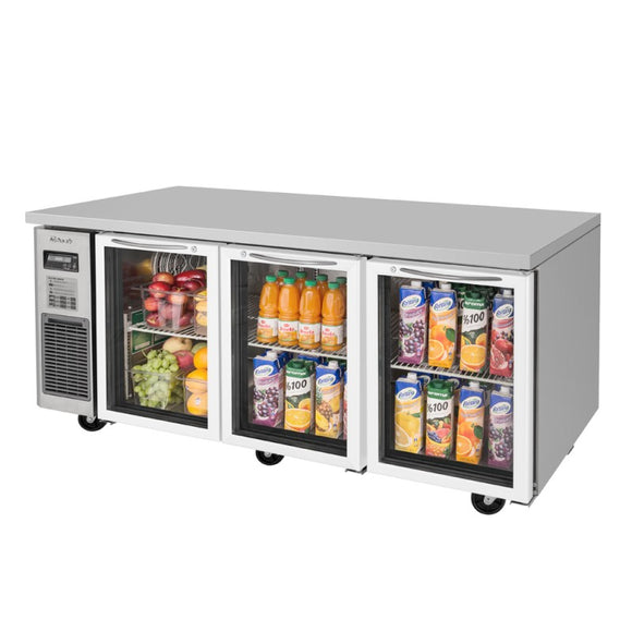 Turbo Air J Series Undercounter Refrigerator, 3 Section, 3 Glass Door, 70