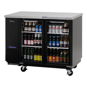 "Turbo Air Back Bar Cooler, 2 Section, 49""W, Glass Door"