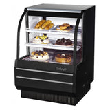 "Turbo Air Dry Curved Glass Bakery Case, 36""W, White or Black"