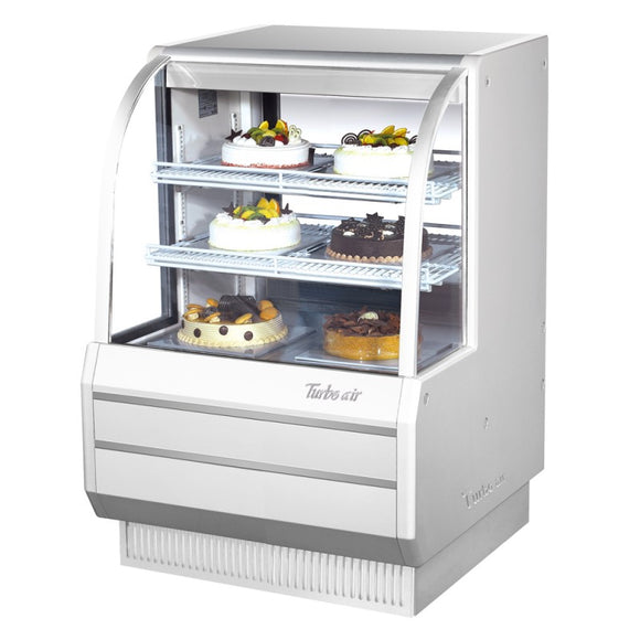 Turbo Air Refrigerated Curved Glass Bakery Case, 36