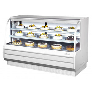 "Turbo Air Refrigerated Curved Glass Bakery Case, 72""W, White or Black"