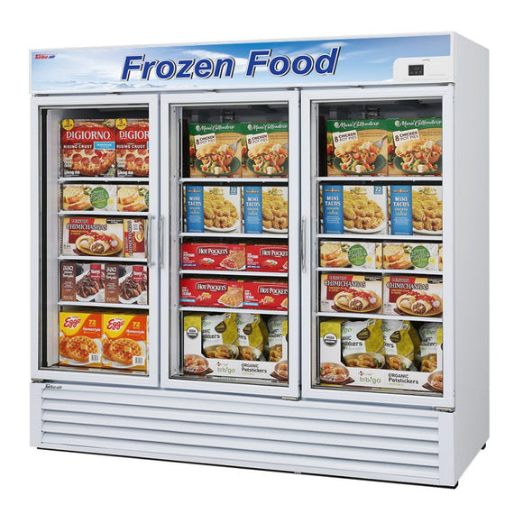 Turbo Air Glass Door Freezer, 3 Section, 3 Door, 81