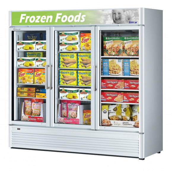 Turbo Air Super Deluxe Glass Door Freezer, 3 Section, 3 Door, 78