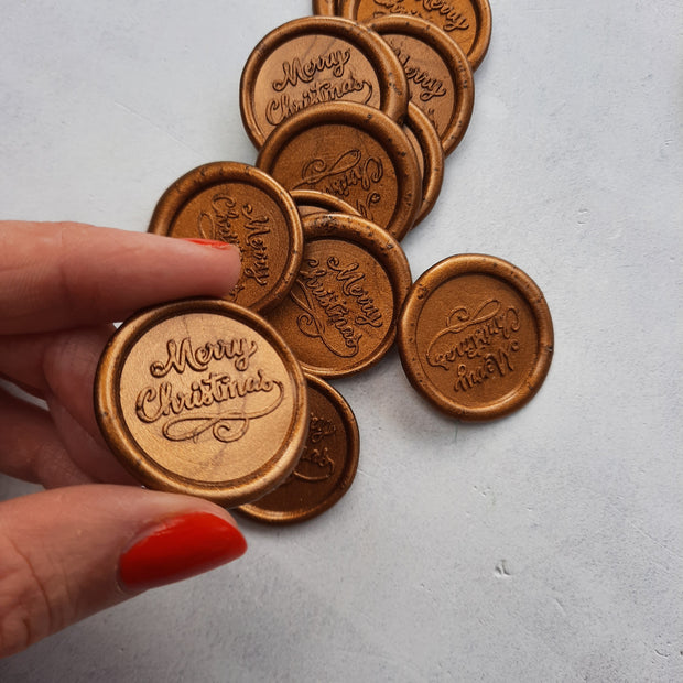 'Merry Christmas' self-adhesive wax seals- Various Colours - THE LITTLE BLUE BRUSH