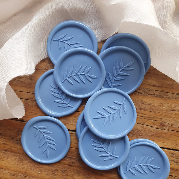 Cornflower BLUE 'Foliage' Self - Adhesive Wax Seals - THE LITTLE BLUE BRUSH