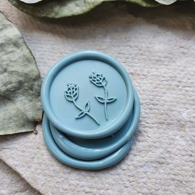 Fulham Blue 'Two buds'  self adhesive wax seals - THE LITTLE BLUE BRUSH