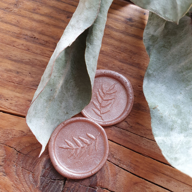 ROSE Silver 'Foliage' Self Adhesive Wax Seals - THE LITTLE BLUE BRUSH
